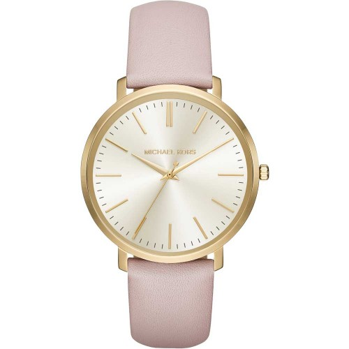 Michael Kors Ladies Pink & Gold Jaryn Leather Watch MK2471