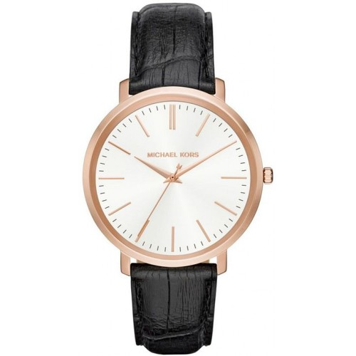 Michael Kors Ladies Black & Rose Gold Jaryn Leather Watch MK2472