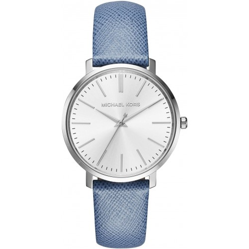 Michael Kors Ladies Blue & Silver Jaryn Leather Watch MK2495