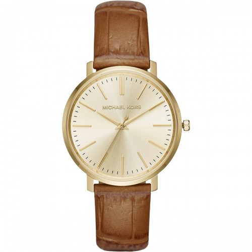Michael Kors Ladies Gold & Brown Jaryn Leather Watch MK2496