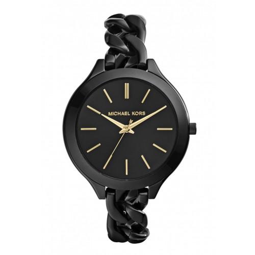 4ed80f44aaf3 Michael Kors Ladies Black Mini Slim Runway Watch MK3587