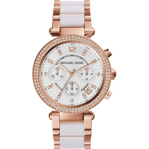 Michael Kors Ladies Rose Gold & White Parker Watch MK5774