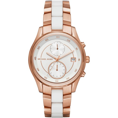 Michael Kors Ladies Rose Gold & White Briar Watch MK6467