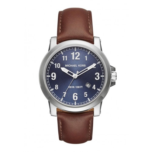 Michael Kors Mens Paxton Brown Leather Watch MK8501