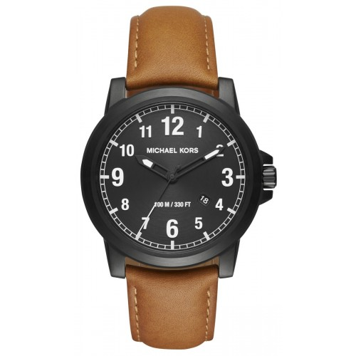 Michael Kors Mens Paxton Brown Leather Watch MK8502