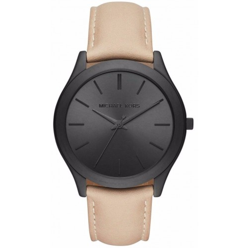 Michael Kors Mens Grey Leather Runway Watch MK8510