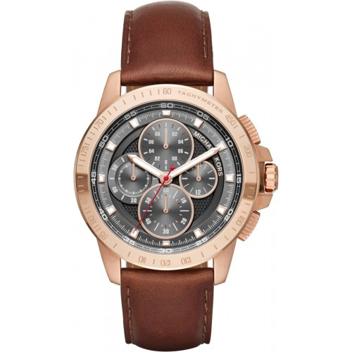 Michael Kors Mens Brown Leather Ryker Watch MK8519